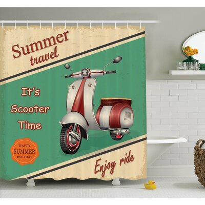 Scooter Motorbike Summer Travel Italian City Sight Hipster Enjoy Ride Illustration Shower Curtain Set Size: 75 H x 69 W