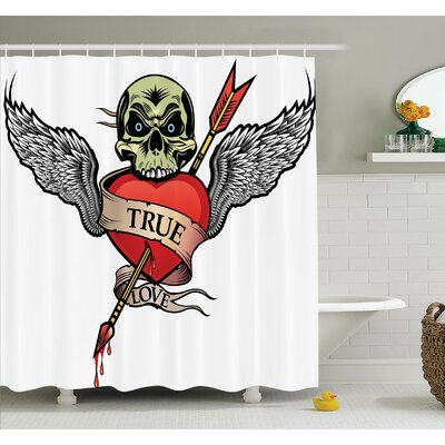 Tattoo Skull with Diamond Eyes and Floral Vine Art Renaissance Inspired Shower Curtain Set Size: 70 H x 69 W