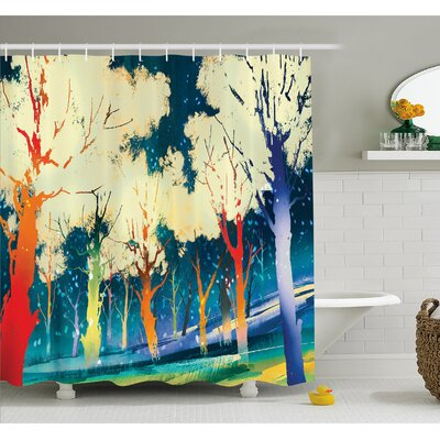 Fiction Forest with Stereoscope Trees Dimensional Vibrant Depth Image Shower Curtain Set Size: 70 H x 69 W
