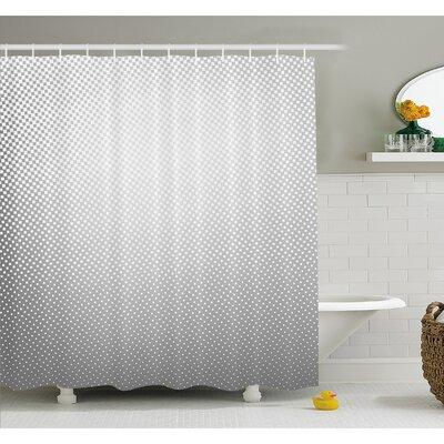 Soft Dots and Spots on Shiny Backdrop Creative Modern Pixel Art Poster Print Shower Curtain Set Size: 84 H x 69 W