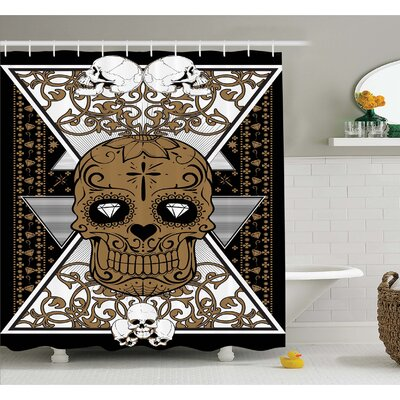 Tattoo Wise Old and Brave Viking Warrior with Long Beard and Armour Shower Curtain Set Size: 70