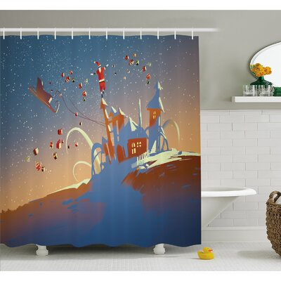 Santa Claus is Coming to Town with a Bunch of Gifts in Winter Art Print Shower Curtain Set Size: 70 H x 69 W