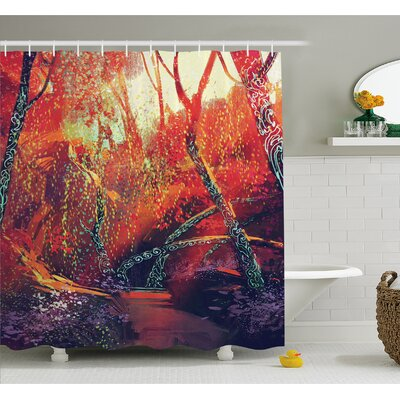 Fall Autumn Scenery in Habitat Fairy Tale Woodland Fiction View Shower Curtain Set Size: 70 H x 69 W