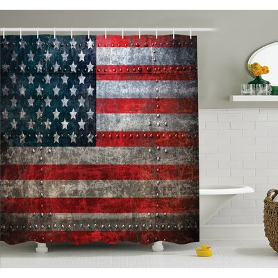 Royalty Textured US Backdrop on Damaged Metallic Board Plate Design Shower Curtain Set Size: 75 H x 69 W