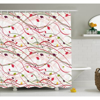 Bizarre Curl Lines Like Tree Branches with Leaves Spring Summer Theme Shower Curtain Set Size: 70 H x 69 W
