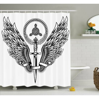 Tattoo Skull of a Bull with Horns Tangled Geometric Simple Symbols Art Image Shower Curtain Set Size: 70 H x 69 W