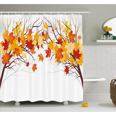 Fall Image of Canadian Maple Leaves with Soft Reflection Effects Shower Curtain Set Size: 70 H x 69 W