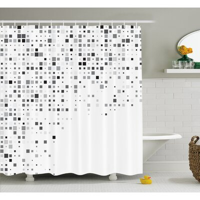 Pattern Composed of Geometric Elements Radiant Rectangle Parallel Picture Shower Curtain Set Size: 70 H x 69 W