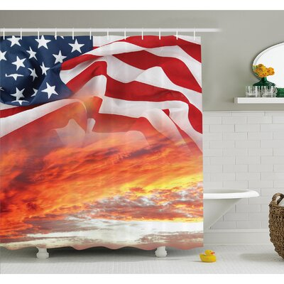 Skyline on Clouds and Flag Freedom and Independence Memorial Print Shower Curtain Set Size: 70 H x 69 W