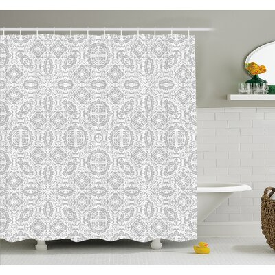Lace Victorian Damask Antique Baroque Design with Oriental Effects Renaissance Art Shower Curtain Set Size: 70 H x 69 W