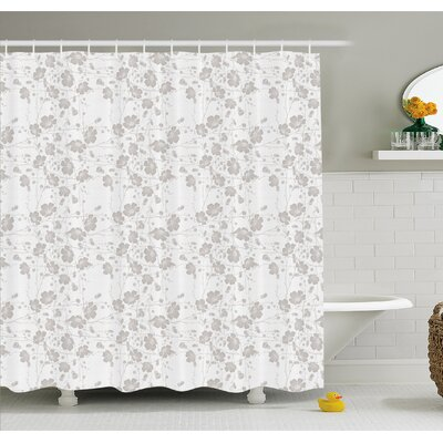 Natural Beauty Flower Hand Drawn Peonies Bouquet Florets Romantic Feminine Home Decor Shower Curtain Set Size: 75 H x 69 W