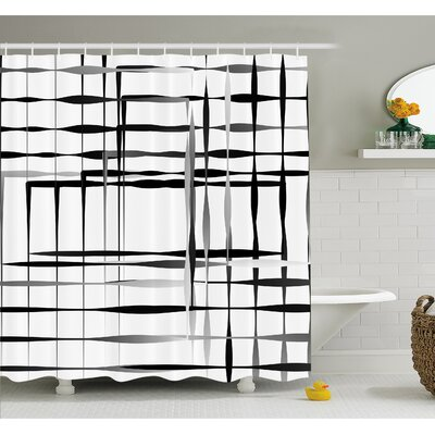 Minimalist Image with Simplistic Spaces and Spare Asymmetric Grids Shower Curtain Set Size: 75 H x 69 W