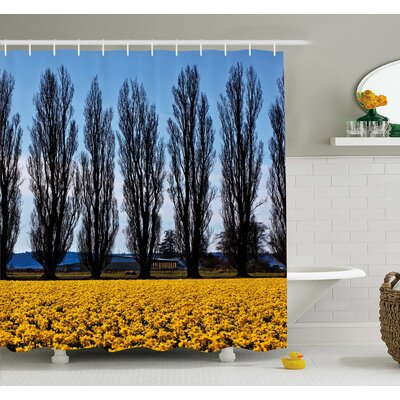 Daffodil Field Farming Washington Valley Northwest Art Print Shower Curtain Set Size: 75 H x 69 W
