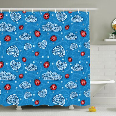 Gretna Ladybugs Hearts Clouds Shower Curtain Set Size: 70 H x 69 W