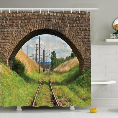 Rustic Decor Bridge Railway Shower Curtain Set Size: 70 H x 69 W