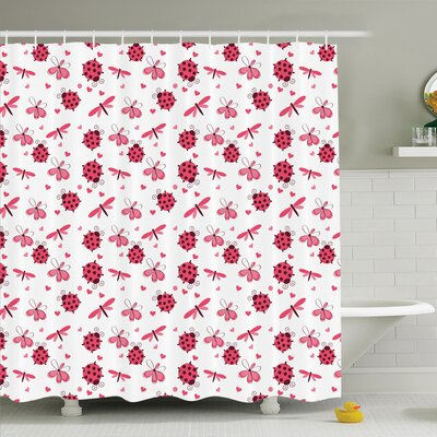 Gretna Dragonfly Ladybugs Hearts Shower Curtain Set Size: 84 H x 69 W