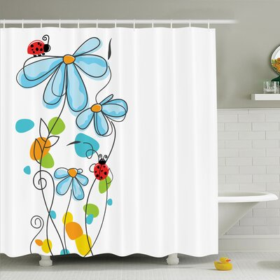Lizbeth Cartoon Ladybugs Flowers Shower Curtain Set Size: 70 H x 69 W