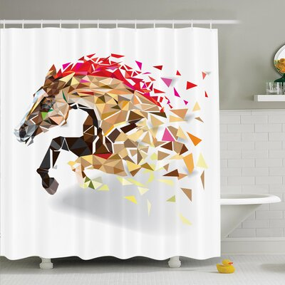 Horse Abstract Art Wild Animal Shower Curtain Set Size: 75 H x 69 W