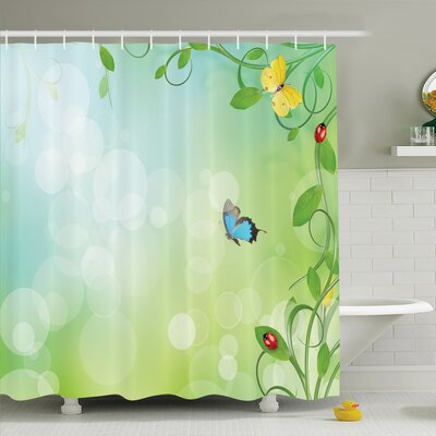 Awilda Spring Flowers Sunny Shower Curtain Set Size: 70 H x 69 W