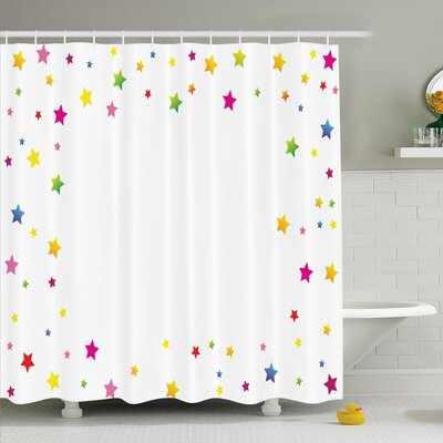 Maegan Colorful Stars Shower Curtain Set Size: 84 H x 69 W