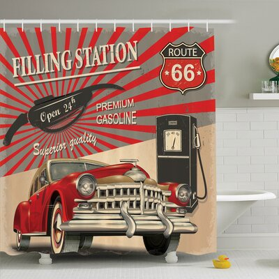 Vintage Retro Poster Effect Shower Curtain Set Size: 70 H x 69 W