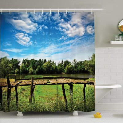 Rustic Decor Old Wooden Bridge Shower Curtain Set Size: 70 H x 69 W