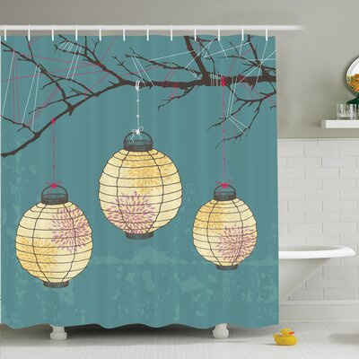 Lanterns Hanging on Tree Shower Curtain Set Size: 70 H x 69 W