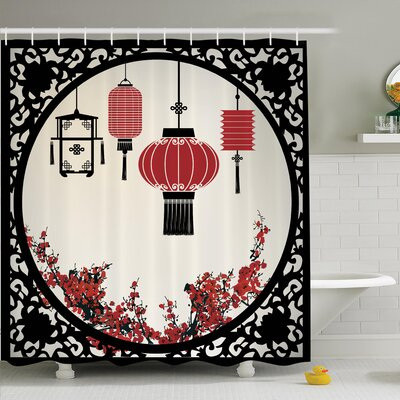 Jody Lantern Flowers New Year Shower Curtain Set Size: 75 H x 69 W