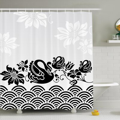 Floral Black Swans and Flowers Shower Curtain Set Size: 75 H x 69 W