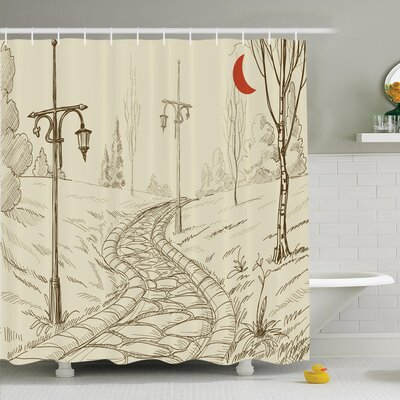 Park Alley Artsy Shower Curtain Set Size: 84 H x 69 W