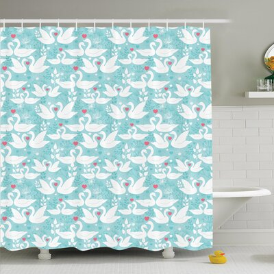 Flower Swans in Love Dandelion Shower Curtain Set Size: 75 H x 69 W