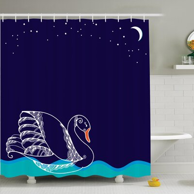 Swan Floating on Waves Shower Curtain Set Size: 70 H x 69 W