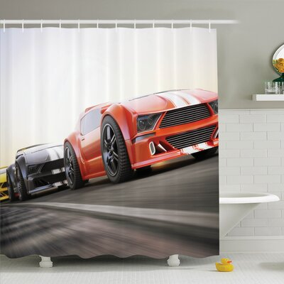 Ervin Decor Sports Highway Race Shower Curtain Set Size: 75 H x 69 W