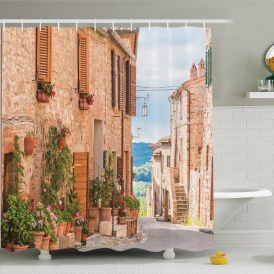 Rustic Medieval Old Village Shower Curtain Set Size: 75 H x 69 W