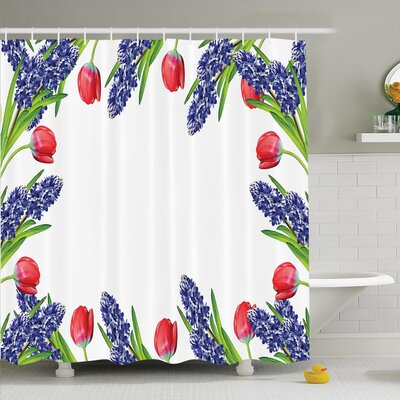 Floral Blossom Spring Flowers Shower Curtain Set Size: 75 H x 69 W