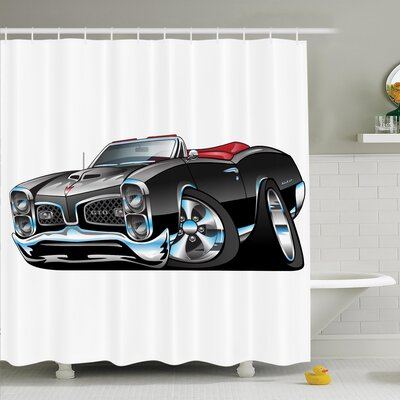 Myaa Nostalgic Sports Car Shower Curtain Set Size: 84 H x 69 W