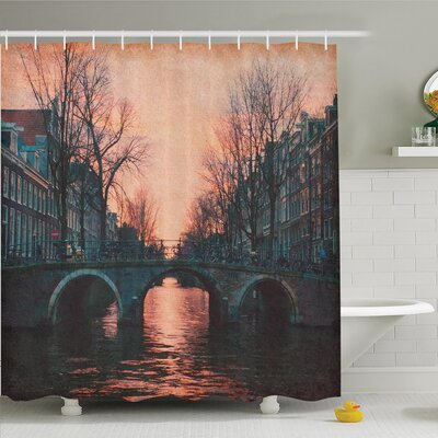 Tamekia Vintage Bridge Shower Curtain Set Size: 84 H x 69 W