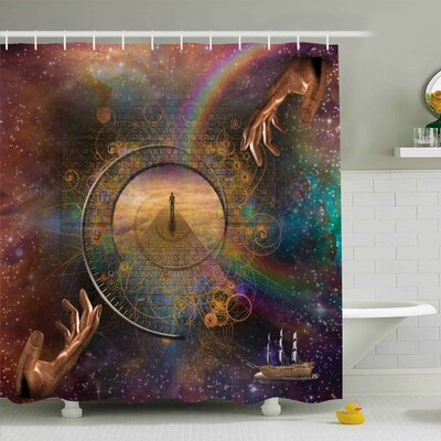 Outer Space Eternity Fantasy Shower Curtain Set Size: 84 H x 69 W