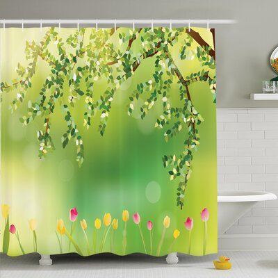 Floral Tulip Tree Shower Curtain Set Size: 84 H x 69 W