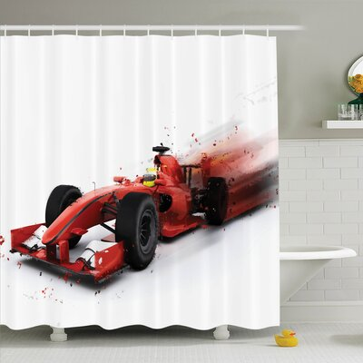 Ervin Decor Formula 1 Racing Shower Curtain Set Size: 70 H x 69 W