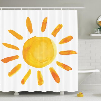 Decor Watercolor Sun Shower Curtain Set Size: 75 H x 69 W