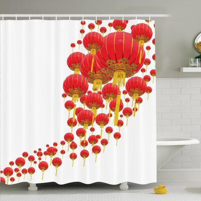 Cliff Chinese Lanterns in Sky Shower Curtain Set Size: 70 H x 69 W