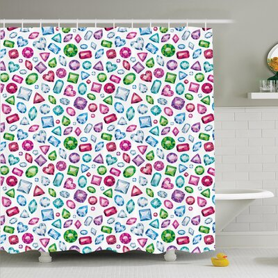Hearts Diamonds Bridal Shower Curtain Set Size: 70 H x 69 W