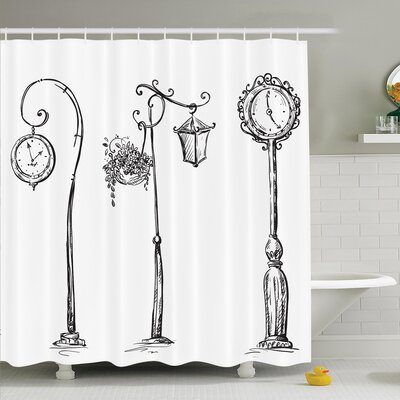 Street Clocks Lamp Shower Curtain Set Size: 75 H x 69 W