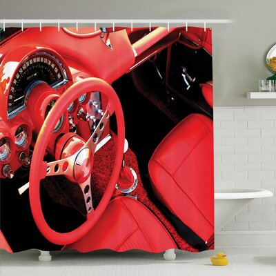 Vintage Sports Car Shower Curtain Set Size: 84 H x 69 W