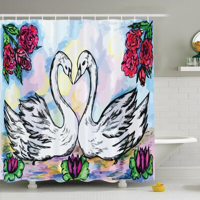 Floral Two White Swans in Lake Shower Curtain Set Size: 84 H x 69 W