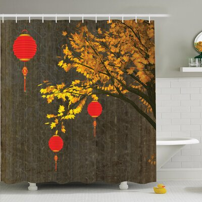 Tree Falls Lantern Vintage Shower Curtain Set Size: 70 H x 69 W