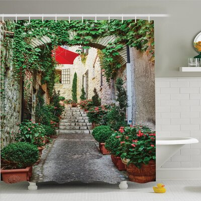 Rustic Old Street with Flowers Shower Curtain Set Size: 75 H x 69 W
