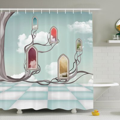 Nathanael Mirrors over Tree Shower Curtain Set Size: 70 H x 69 W