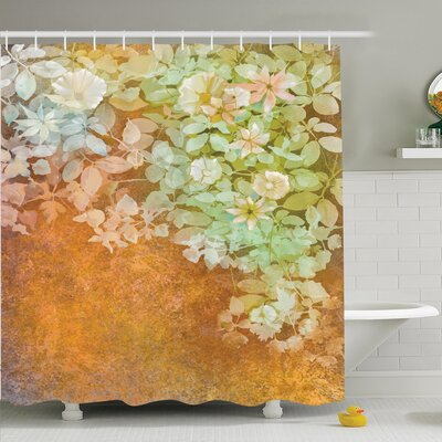 Vintage Watercolor Art Flowers Shower Curtain Set Size: 75 H x 69 W